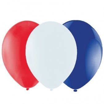 "10 x Latex 10"" Balloons Red, White or Blue"