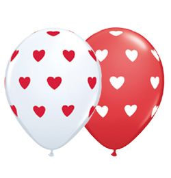 "11"" Latex Red or White Balloons"