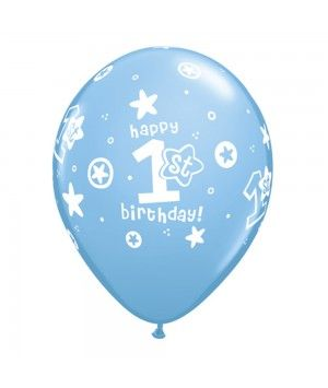 "11"" Printed 1st Birthday Blue Latex Balloons"