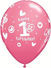 "11"" Printed 1st Birthday Pink Latex Balloons"