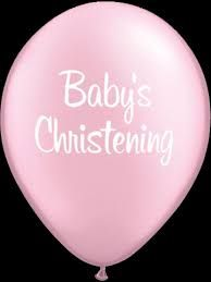 "11"" Printed Baby's Christening Pink Flag Balloons"