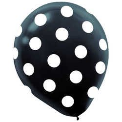 "11"" Printed Black with White Spots Latex Balloons"