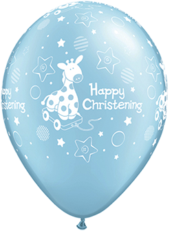 "11"" Printed Happy Christening Blue Latex Balloons"