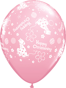 "11"" Printed Happy Christening Pink Balloons"