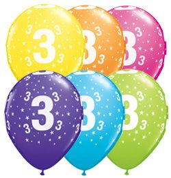 "11"" Printed Latex Balloons - 3rd Birthday Assorted Colours"
