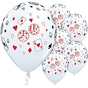 "11"" Printed Latex Balloons - Dice/Cards"