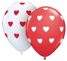 "11"" Printed Latex Balloons Red/White Hearts"