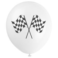 "11"" Printed White Latex with Black Chequered Flag Balloons"