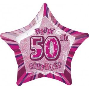 "50th Birthday Pink 18"" Foil"