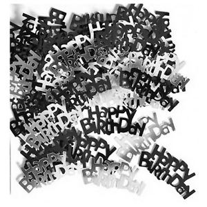 Glitz Black Happy Birthday Table Confetti