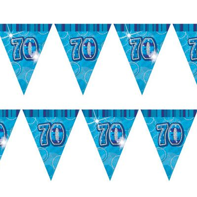 Glitz Blue 70th Bunting Banners
