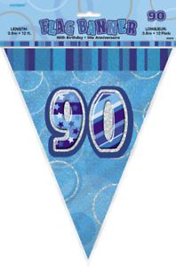 Glitz Blue 90th Bunting Banners