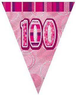 Glitz Pink 100th Bunting Banners)