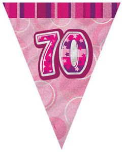 Glitz Pink 70th Bunting Banners
