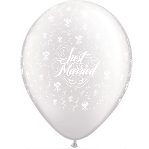 Just Married Flowers a Round Diamond Clear 11""