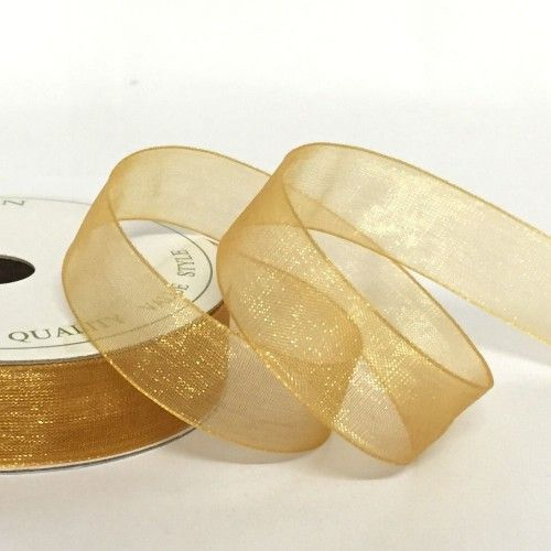 Organza Ribbon 25mm Gold